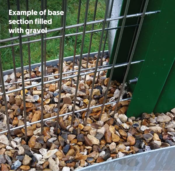 sample of gravel in base section